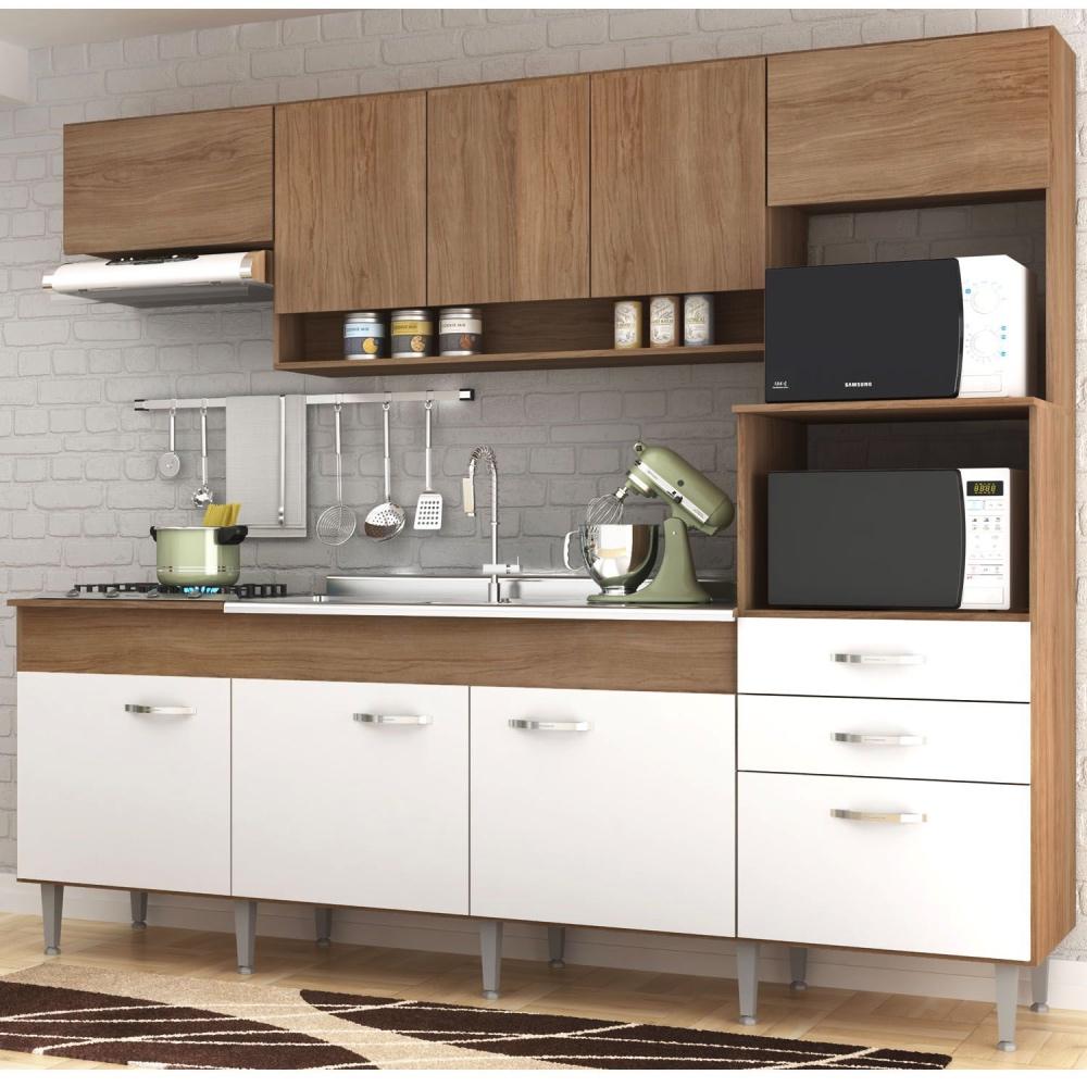 Cozinha Compacta Anita 09 Portas 02 Gavetas Amêndoa/Branco - Megasul