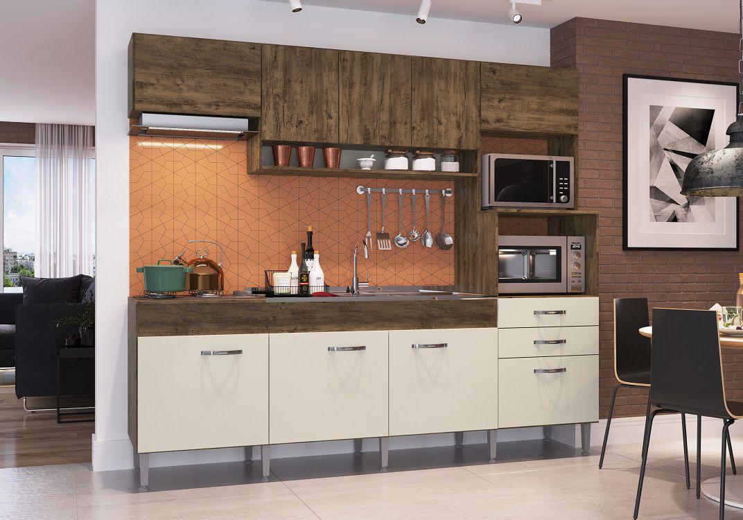 Cozinha Compacta Anita 09 Portas 02 Gavetas Forno Elétrico Microondas Cooktop Itaúba Off White -IRM