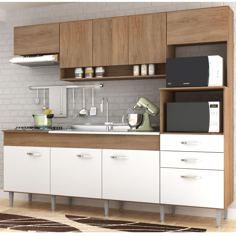 Cozinha Compacta Anita 09 Portas 02 Gavetas Forno Elétrico Microondas Cooktop Amêndoa/Branco IRM