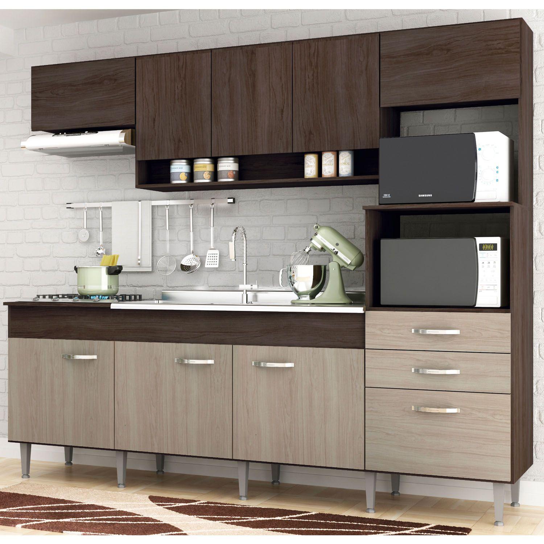 Cozinha Compacta Anita 09 Portas 02 Gavetas Forno Elétrico Microondas Cooktop Amêndoa/Decapê - IRM