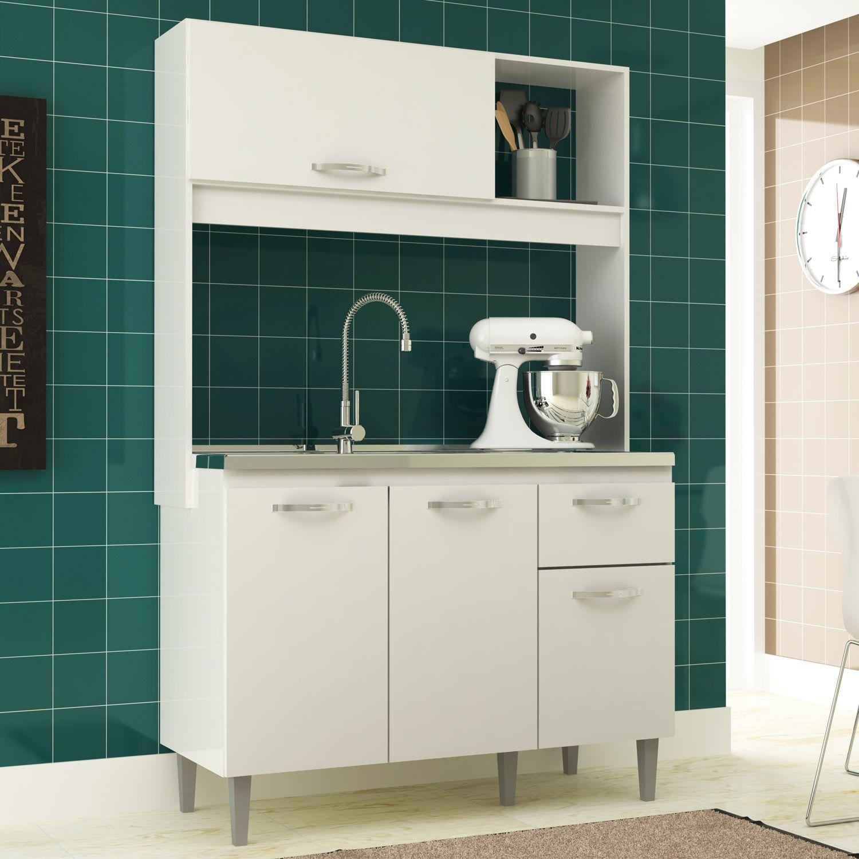 Cozinha Compacta Branca Katy Armário 04 Portas 01 Gaveta - MegaSul