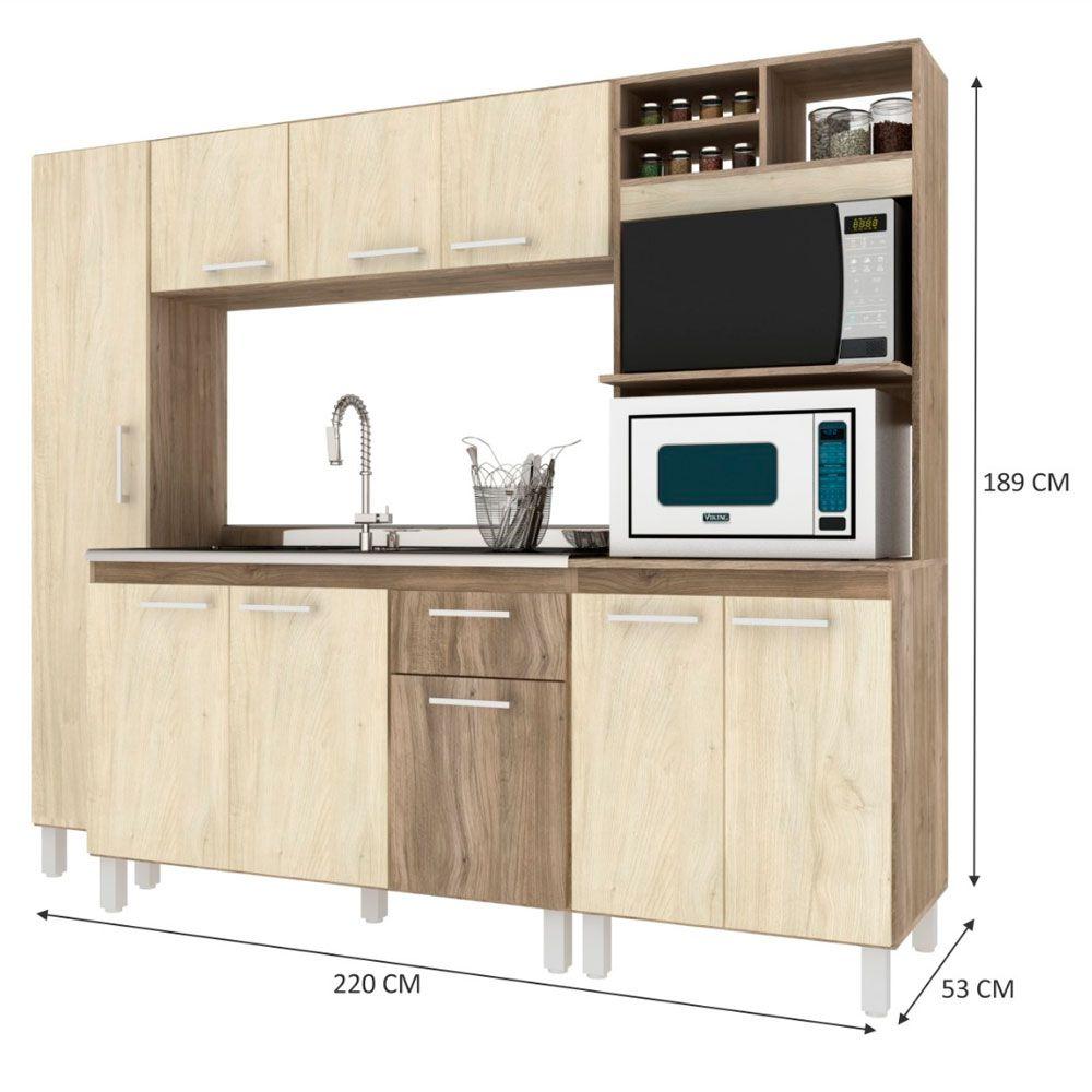 Cozinha Compacta Completa Lara 8 portas 2 gavetas 220cm MDP Carvalho - Megasul