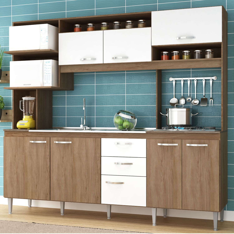 Cozinha Compacta Marília 08 Portas 02 Gavetas Amêndoa/Branco -IRM