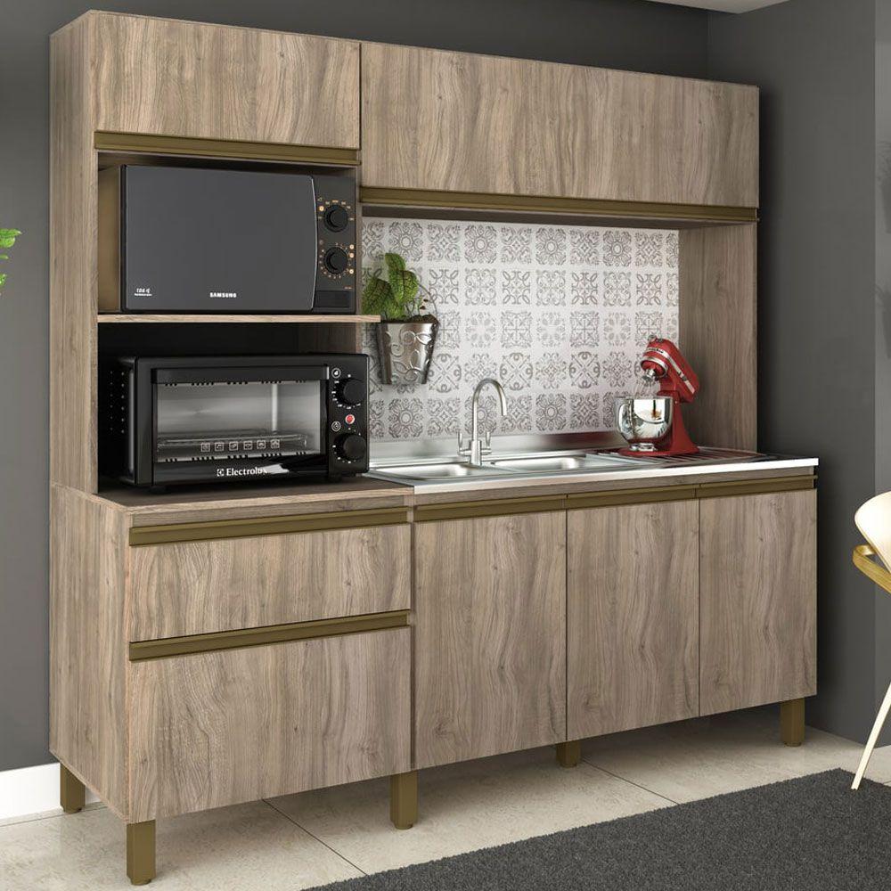 Cozinha Compacta Vitória 6 portas 1 gavetas 185cm MDP Carvalho - Megasul