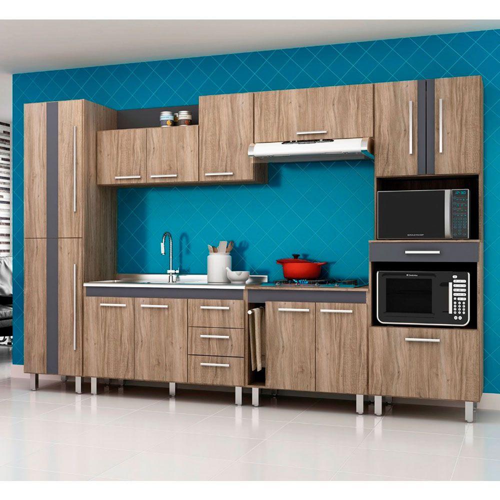 Cozinha Modulada Completa Lorena 6 Peças 315 Cm MDP Carvalho - MEGASUL