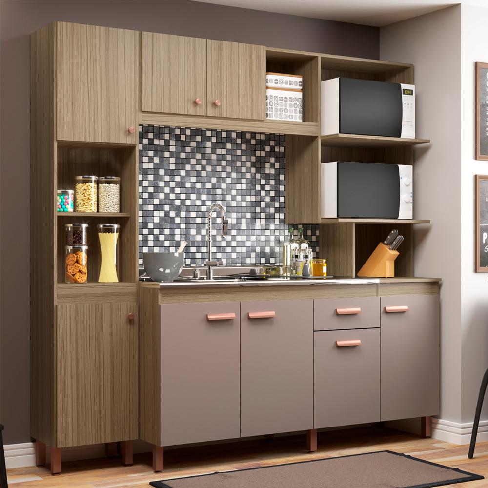 Cozinha Isis New 8 Portas 1 Gaveta Carvalho/Nude - Megasul