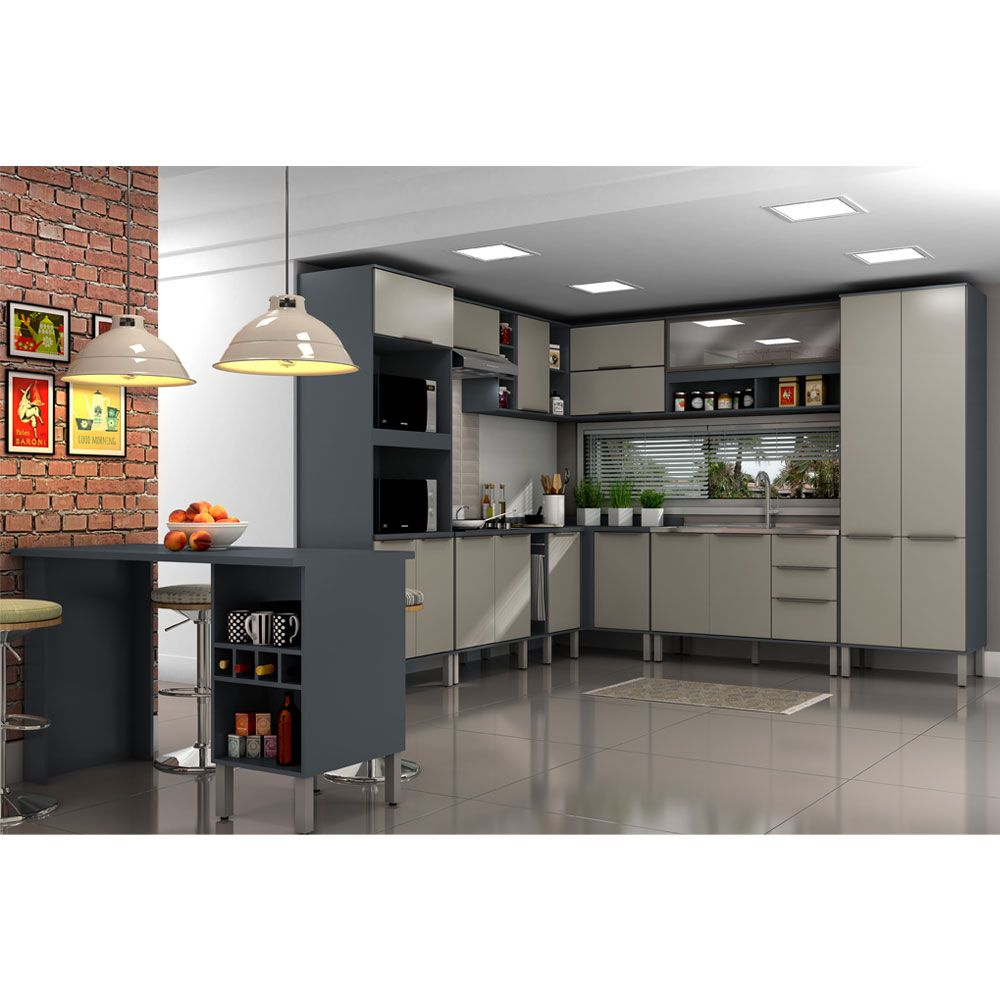 Cozinha Modulada 13 Peças Alto Padrão Verace com Ilha Gourmet 267,6CM x 287,70CM MDP/15mm Titanio - MEGASUL