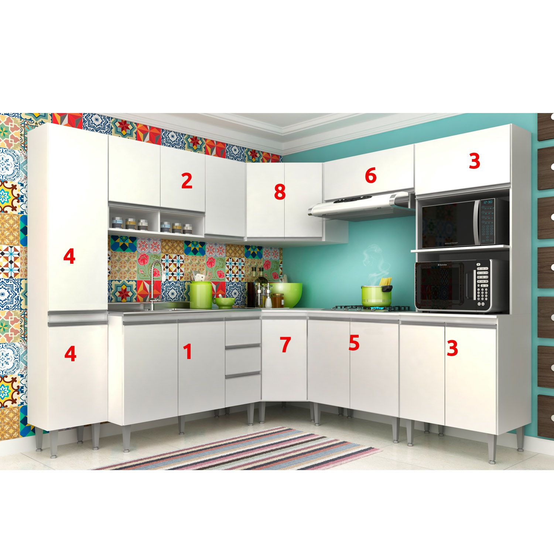 Cozinha Modulada de Canto Aretha - 8 Peças Completa 16 PT 2 GV Branca - MEGASUL