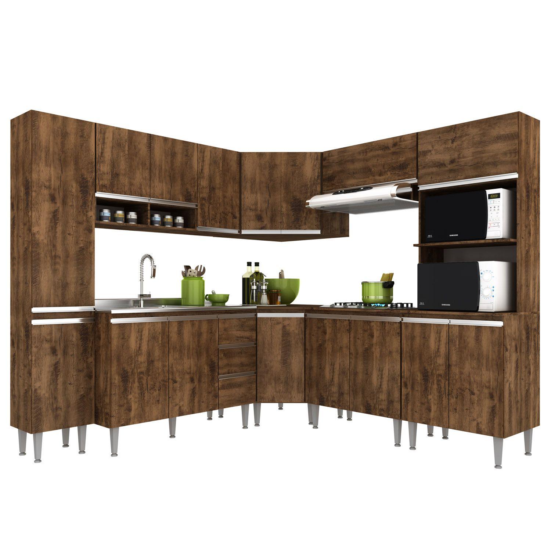 Cozinha Modulada de Canto Aretha - 8 Peças Completa 16 PT 2 GV Itaúba - MEGASUL