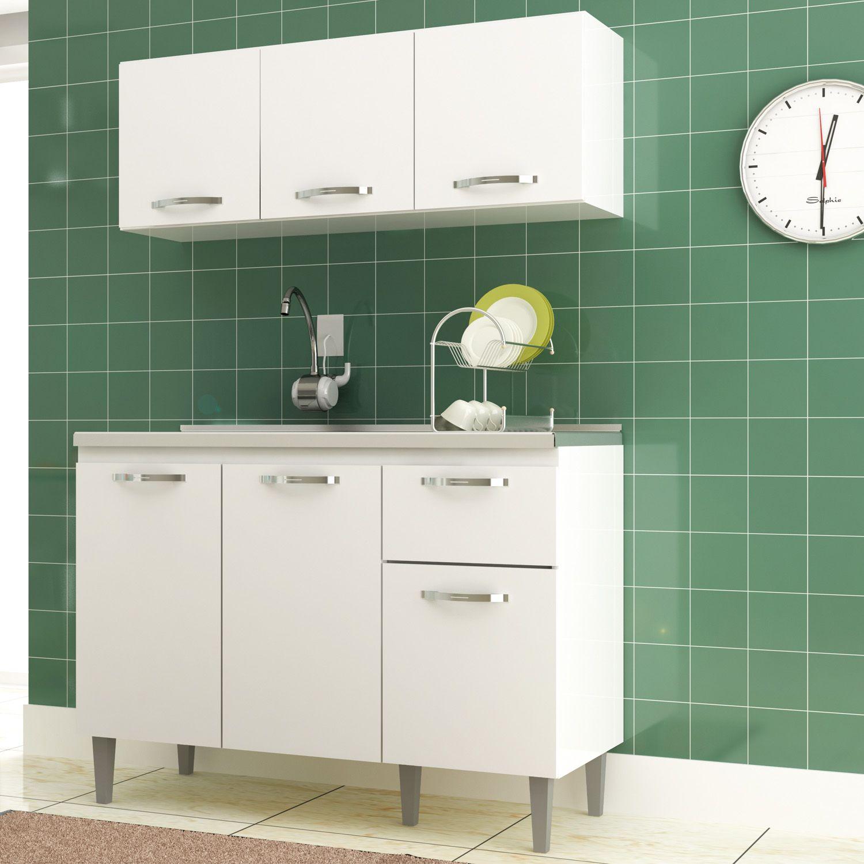 Kit Cozinha Compacta 2 Peças Balcão e Aéreo Raíssa 6 Portas Branco