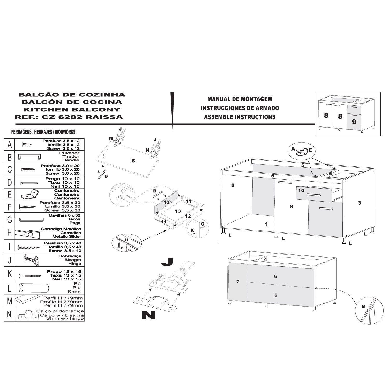 Kit Cozinha Balcão e Aéreo Light 2 Peças 6 Portas Malbec -  IRM