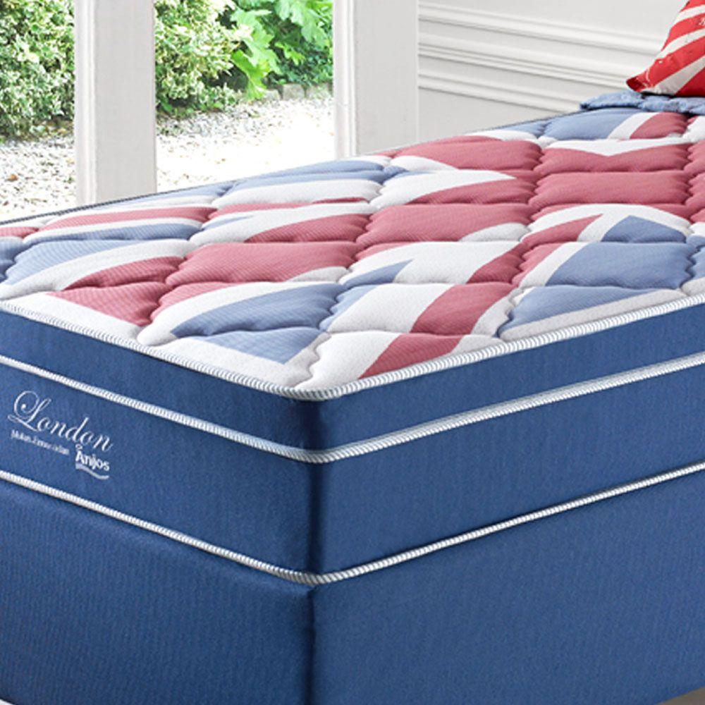 Kit Cama Box + Colchão de Solteiro Londres Anjos Superlastic 88x188x63Cm