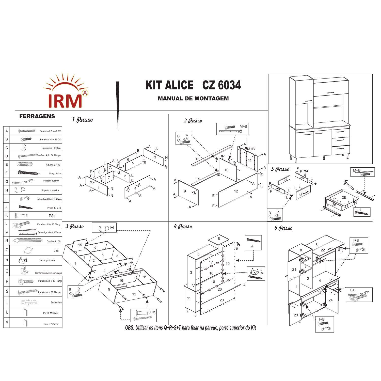 Kit Cozinha Compacta Alice 04 Portas 03 Gavetas Branco Preto - IRM