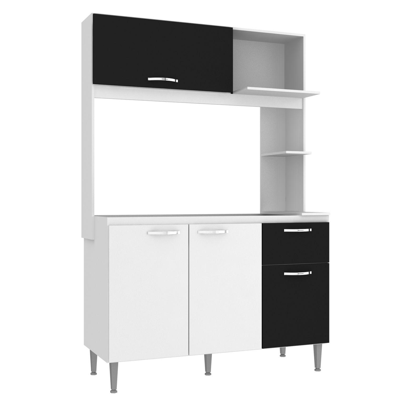 Kit Cozinha Compacta Núbia 4 Portas 1 Gaveta MDP Branco/Preto - IRM
