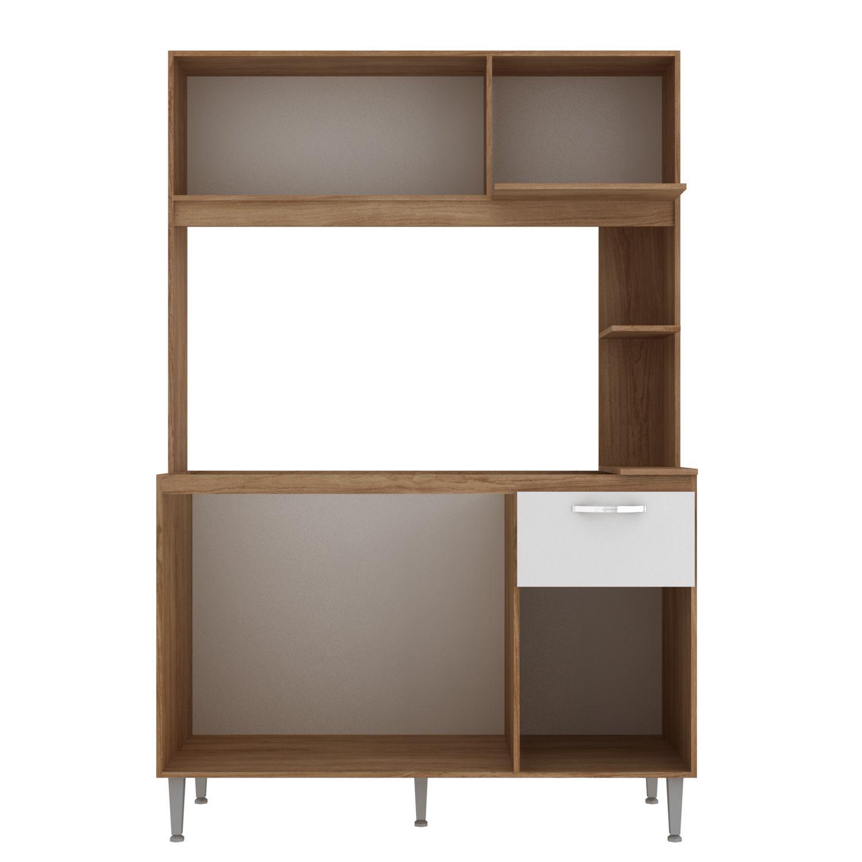 Kit Cozinha Compacta Núbia 4 Portas 1 Gaveta MDP Amêndoa/Branco - IRM