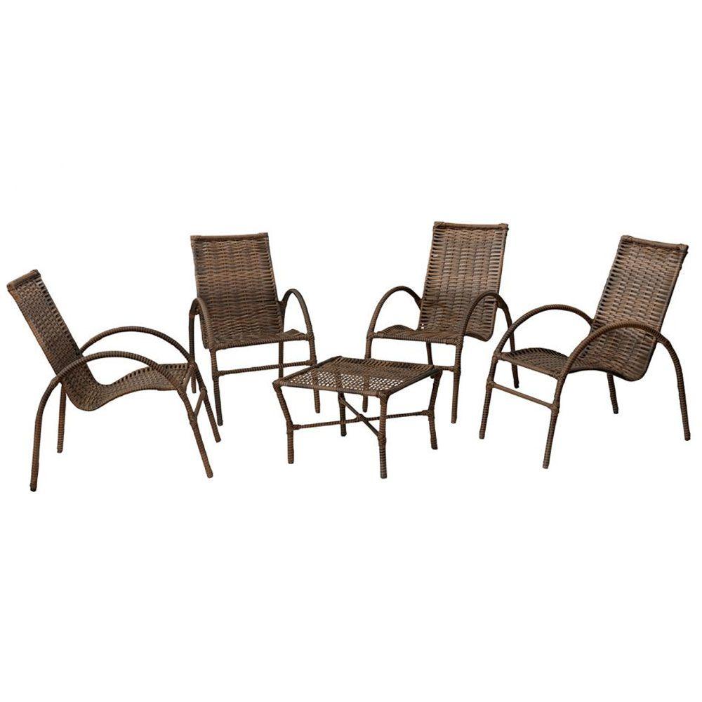 Kit de Junco Sintético Varanda Elo 04 cadeiras e Mesa de Centro  - Megasul