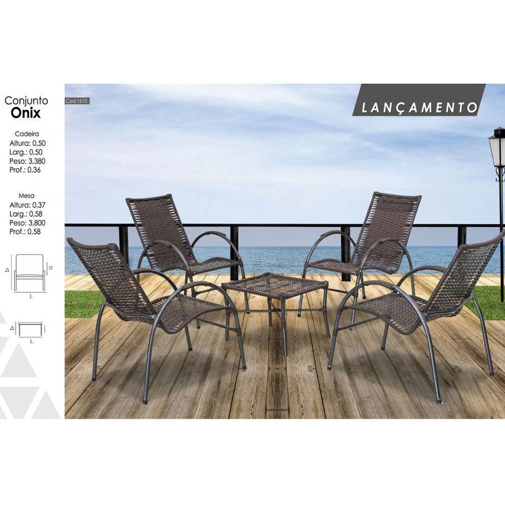 Kit de Junco Sintético Varanda Onix 04 cadeiras e Mesa de Centro  - Megasul