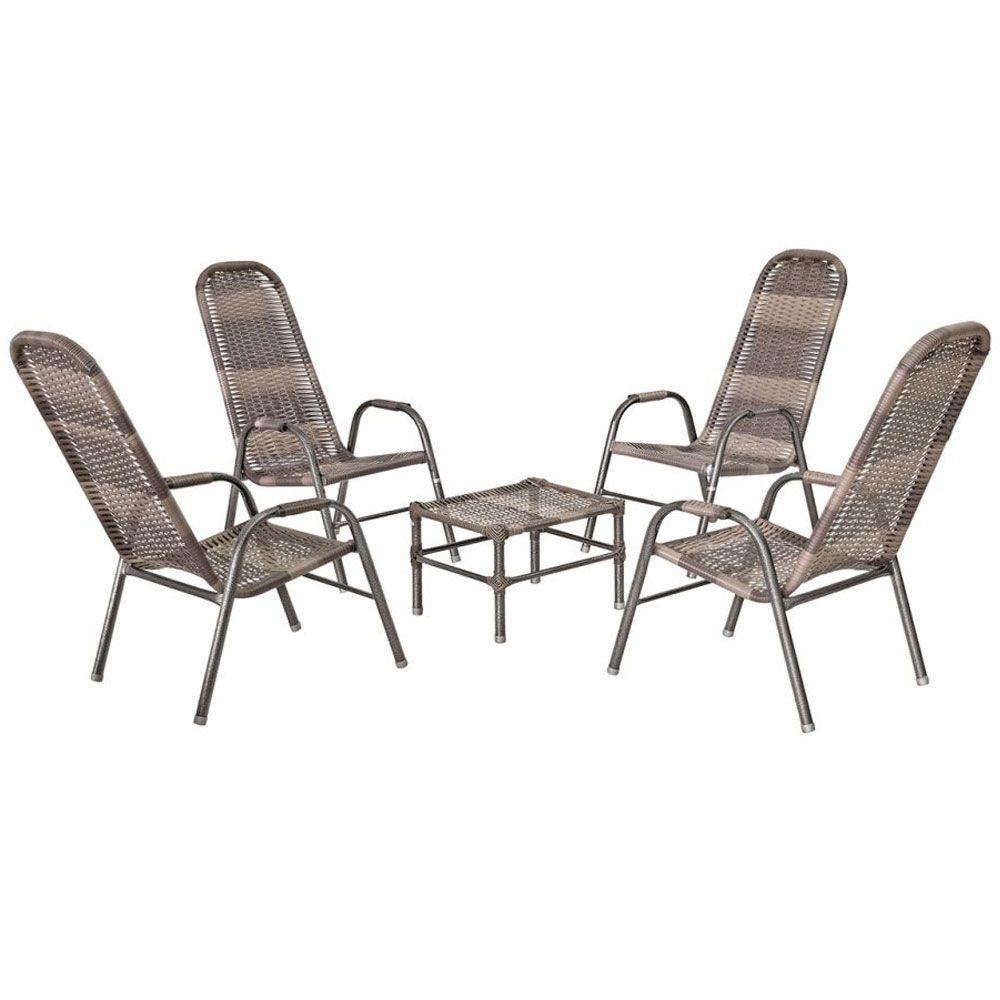Kit de Junco Sintético Área Varanda Tradição 04 cadeiras e Mesa de Centro  - MegaSul