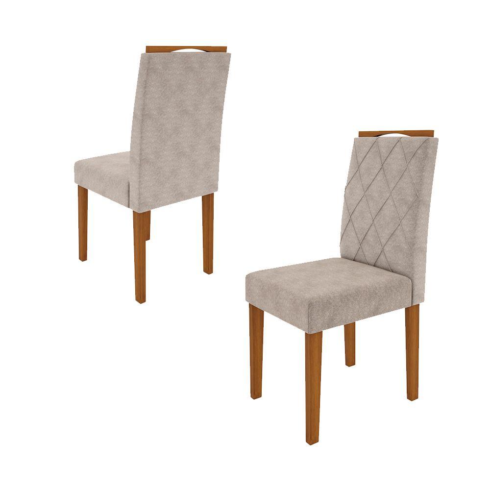 Kit Mesa de Jantar Julia 135 cm Quadrada 06 cadeiras Tampo Giratório MDF - Megasul