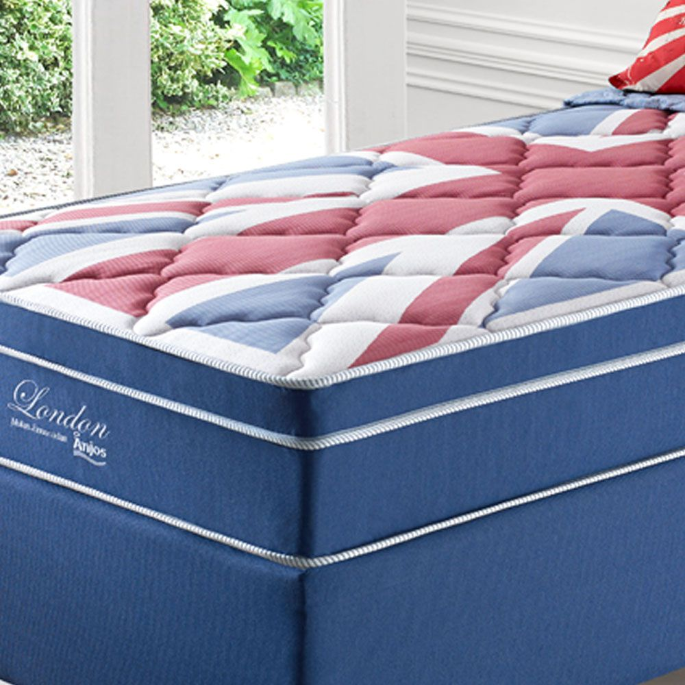 kit Cama Box + Colchão de Solteiro Londres Anjos Mola Ensacada 88x188x63 Cm