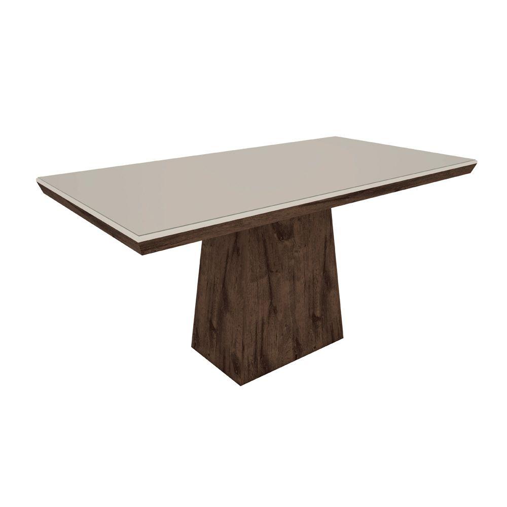 Mesa Para Sala de Jantar Melissa 180cm Tampo de Vidro MDF - Megasul