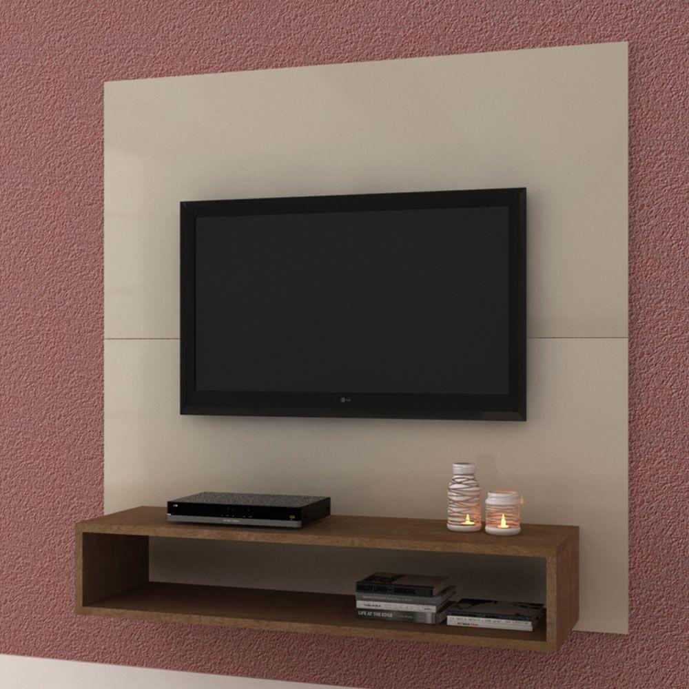 Painel de parede MDF para TV até 47' com 120cm e Nicho Branco - MegaSul