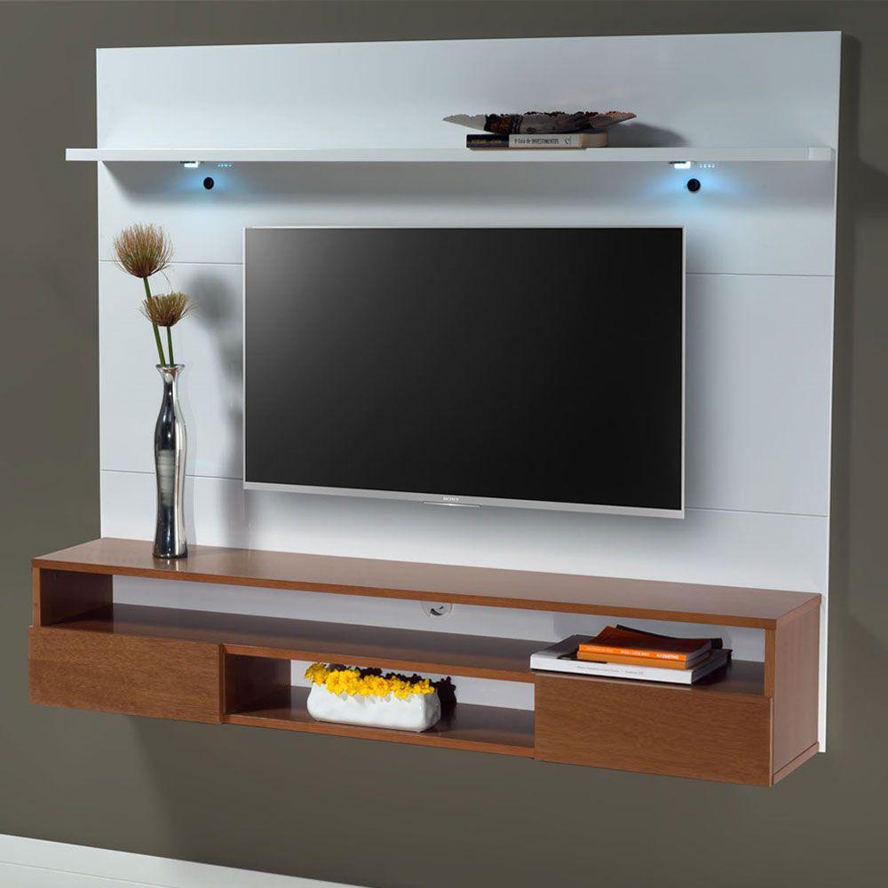 Painel de parede MDF para TV até 70' com 180cm Nicho e 02 gavetas Branco - MegaSul