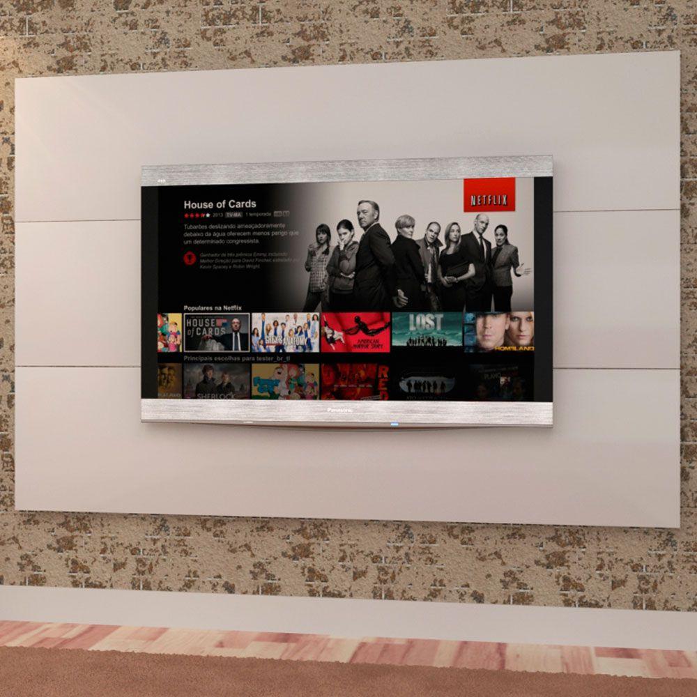 Painel de parede MDF para TV até 71' com 182cm Branco - MegaSul