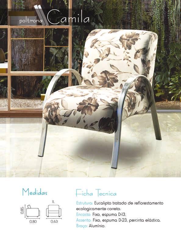 Poltrona Decorativa Camila Para Sala e Recepção Floral Marrom - MegaSul
