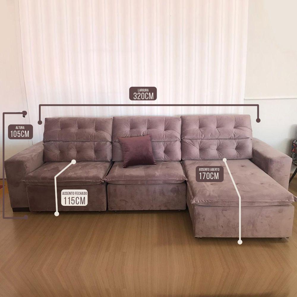 Sofá 06 Lugares Retrátil e Reclinável Alasca 320 Cm Pillow Veludo Bege MegaSul