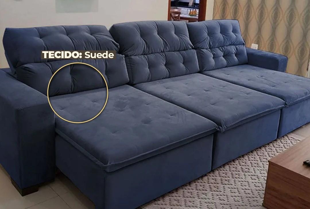 Sofá 07 Lugares Retrátil e Reclinável Alasca 350 Cm Pillow TECIDO SUEDE  MegaSul - Azul