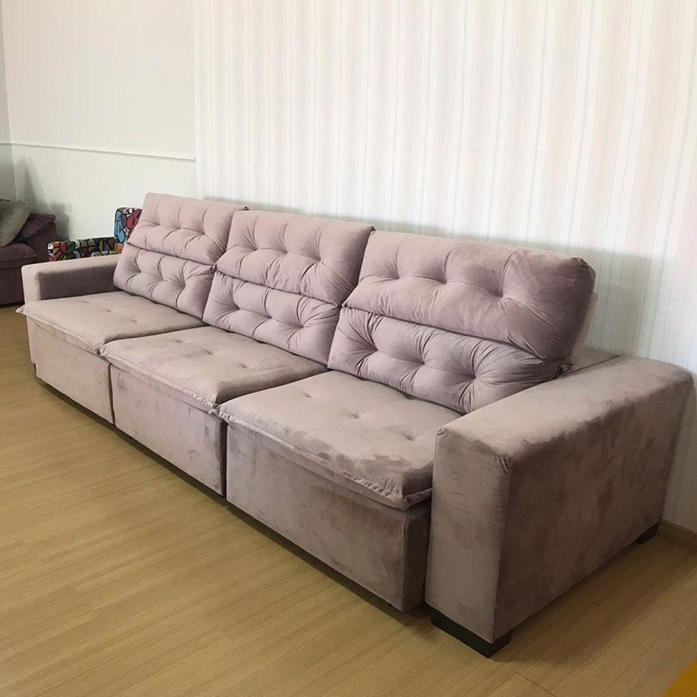 Sofá 07 Lugares Retrátil e Reclinável Alasca 350 Cm Pillow Veludo Bege MegaSul