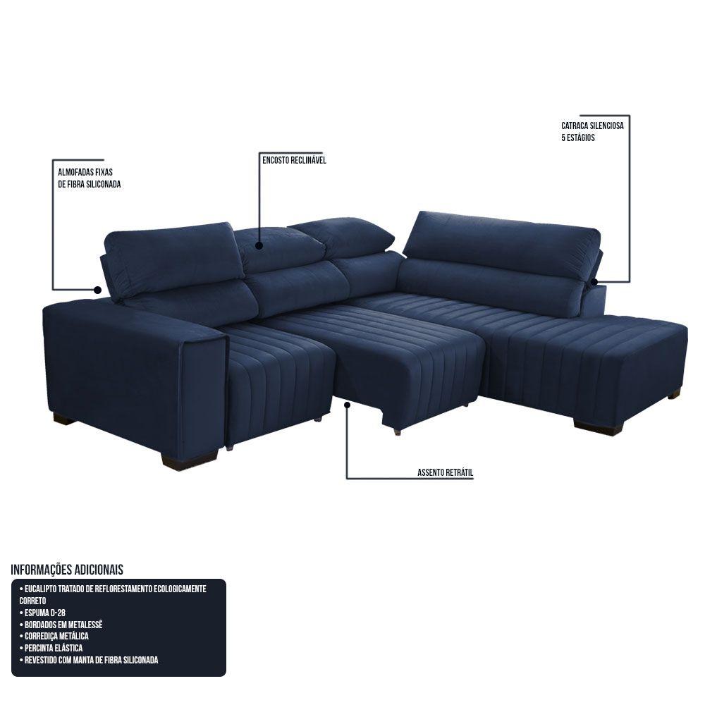 Sofá Canto 06 Lugares Retrátil e Reclinável Madri 274 Cm Chaise Esquerdo Metalessê Azul - Megasul