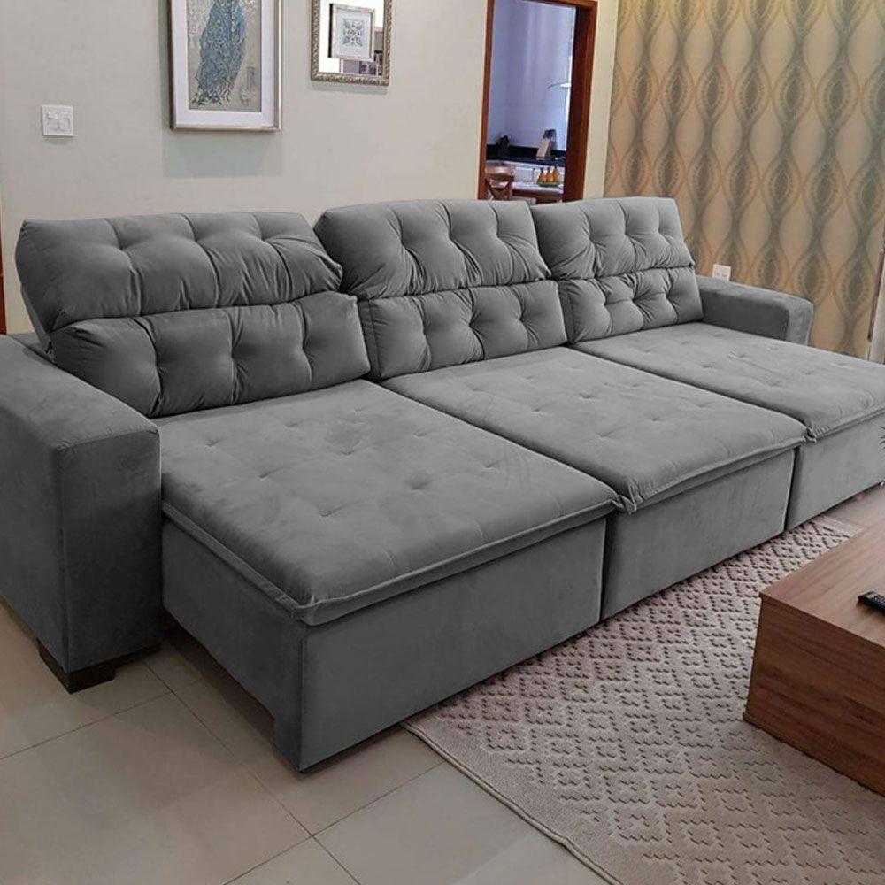 Sofá 09 Lugares Retrátil e Reclinável Alasca 410 Cm Pillow Veludo Cinza - MegaSul