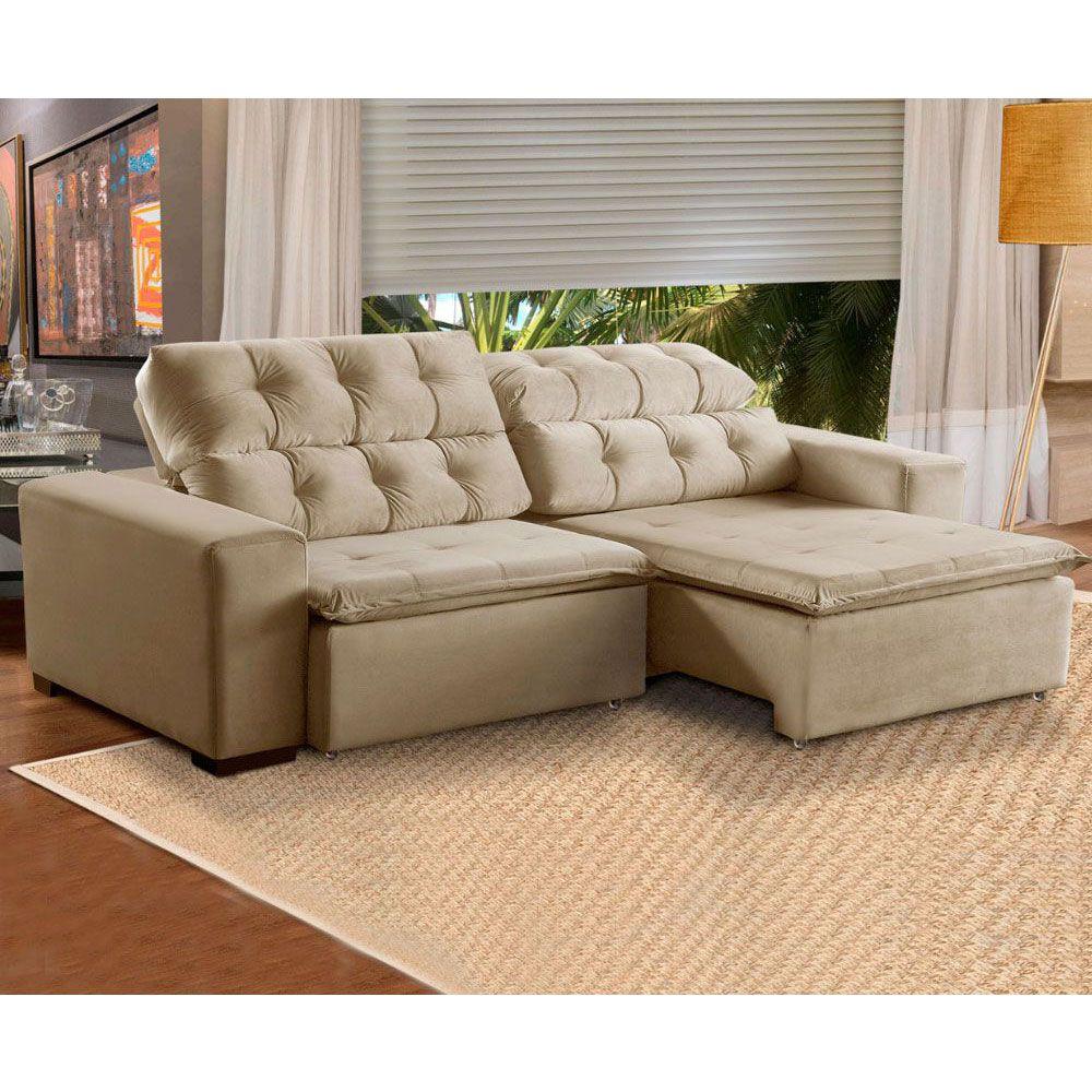 Sofá 4 Lugares Retrátil e Reclinável Alasca 230 Cm Pillow Veludo Bege.526 MegaSul