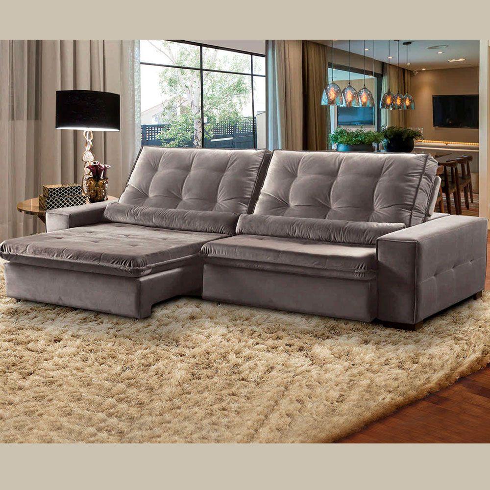 Sofá 4 Lugares Retrátil e Reclinável Assento Pillow 270x180 cm Confort Veludo Cinza - MegaSul