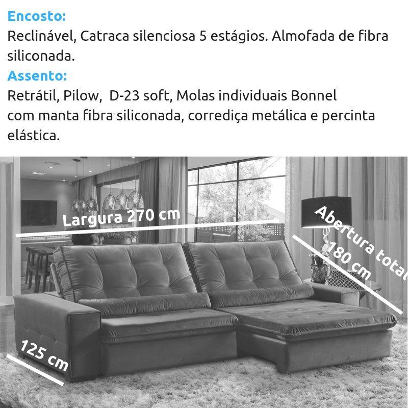 0b15c904b ... Sofá 4 Lugares Retrátil e Reclinável Assento Pillow 270x180 cm Confort  Veludo Cinza - MegaSul ...