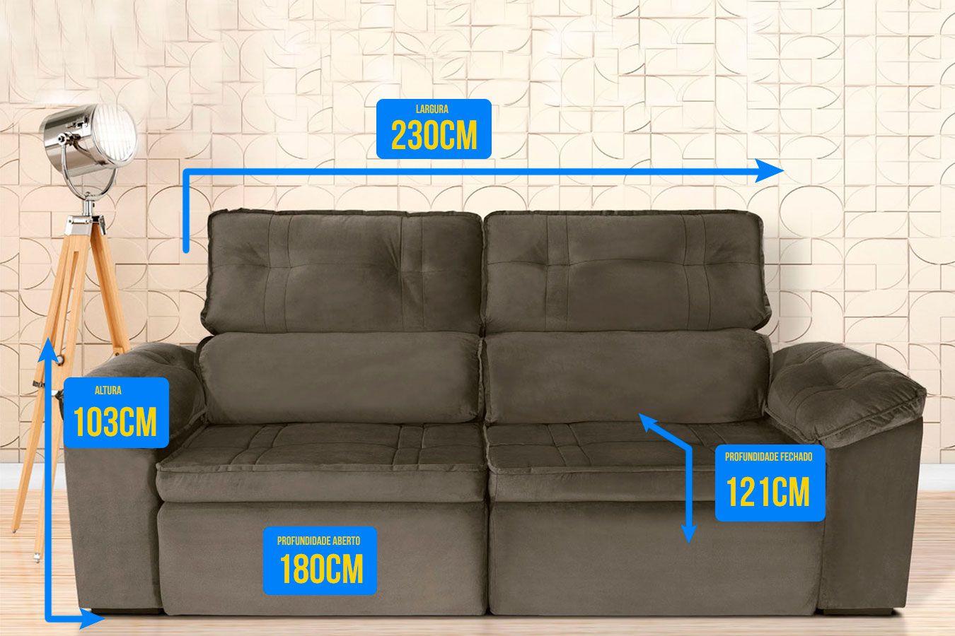 Sofá 4  Lugares Retrátil Reclinável HANO 250x180 Cm Pillow Molas Suede Cinza/Marrom - MegaSul