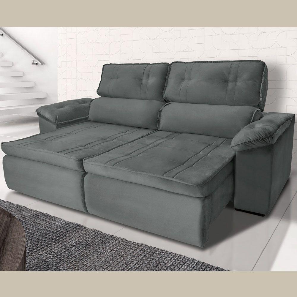 Sofá 4  Lugares Retrátil Reclinável HANO 250x180 Cm Pillow Molas Suede Cinza - MegaSul