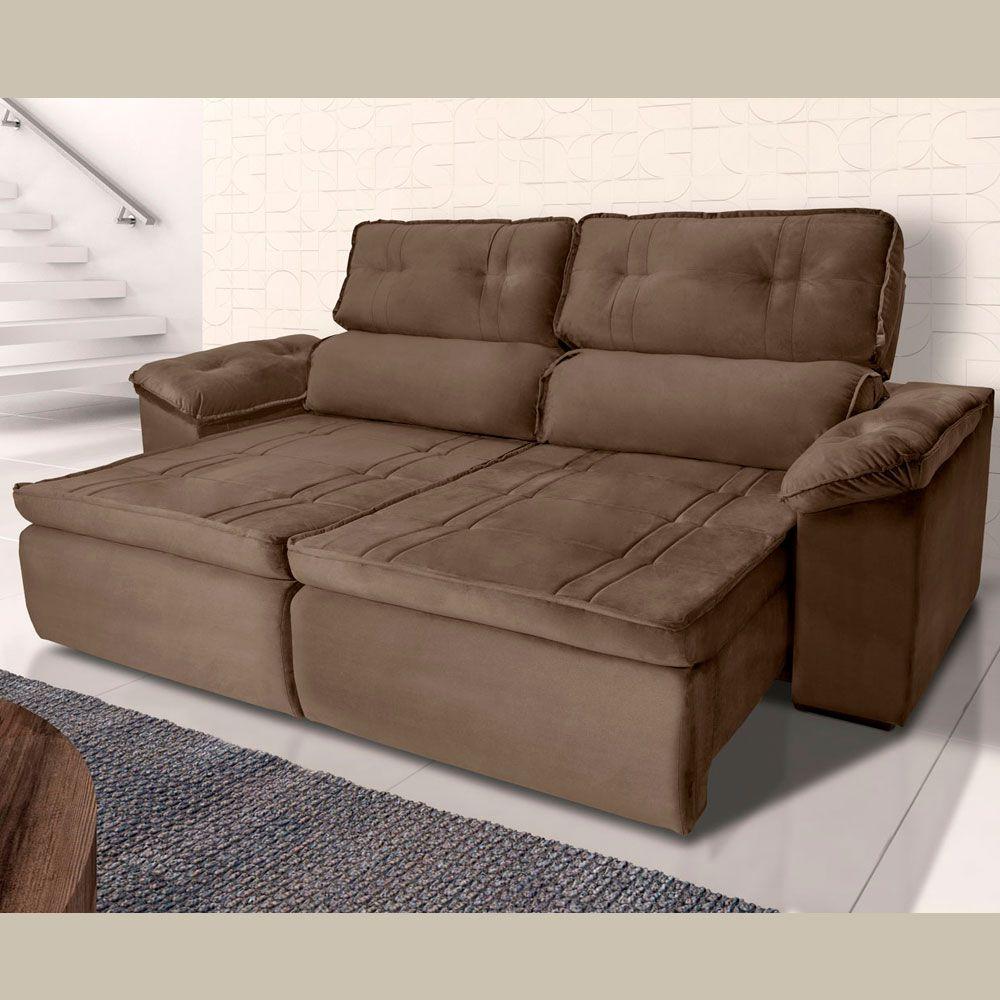 Sofá 4  Lugares Retrátil Reclinável HANO 250x180 Cm Pillow Molas Suede Marrom - MegaSul