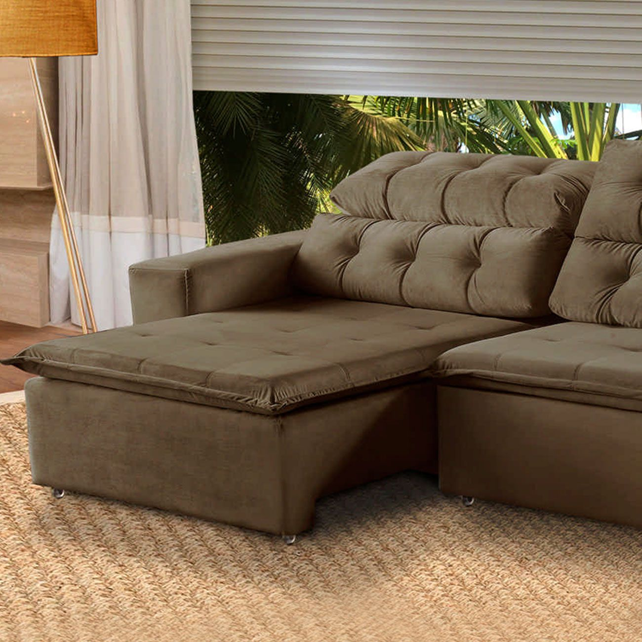 prar Sofá 5 Lugares Alasca 250 cm Retrátil e Reclinável Pillow Veludo Marrom512 MegaSul