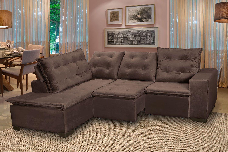 Sofá 5 Lugares Canto 254x212Cm Toronto Retrátil e Reclinável c/Chaise Pillow e Molas Cinza/Marrom - Megasul