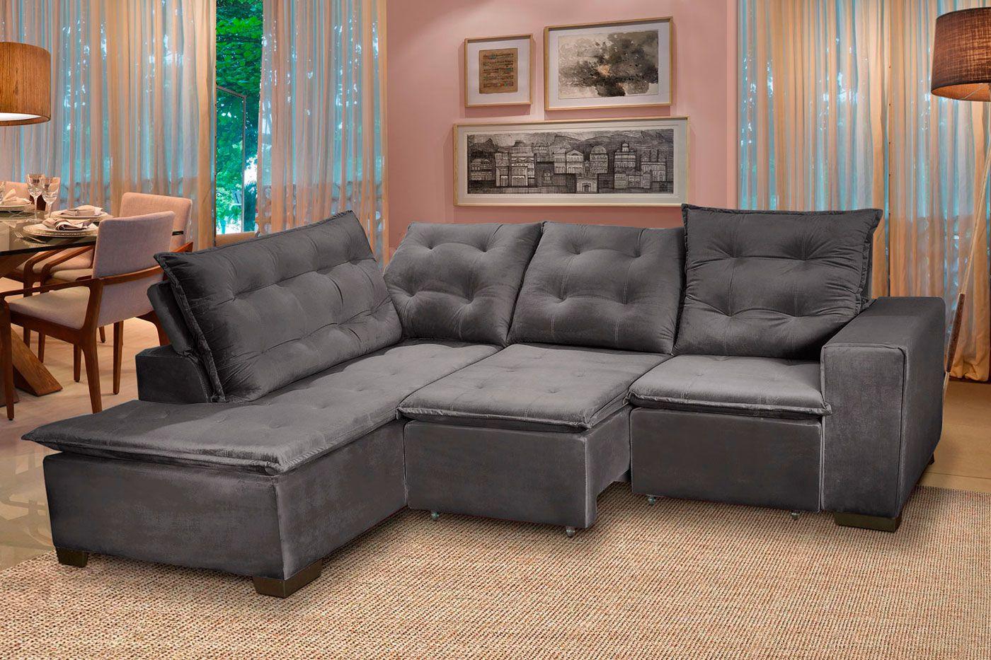 Sofá 5 Lugares Canto 254x212Cm Toronto Retrátil e Reclinável c/Chaise Pillow e Molas Cinza - Megasul