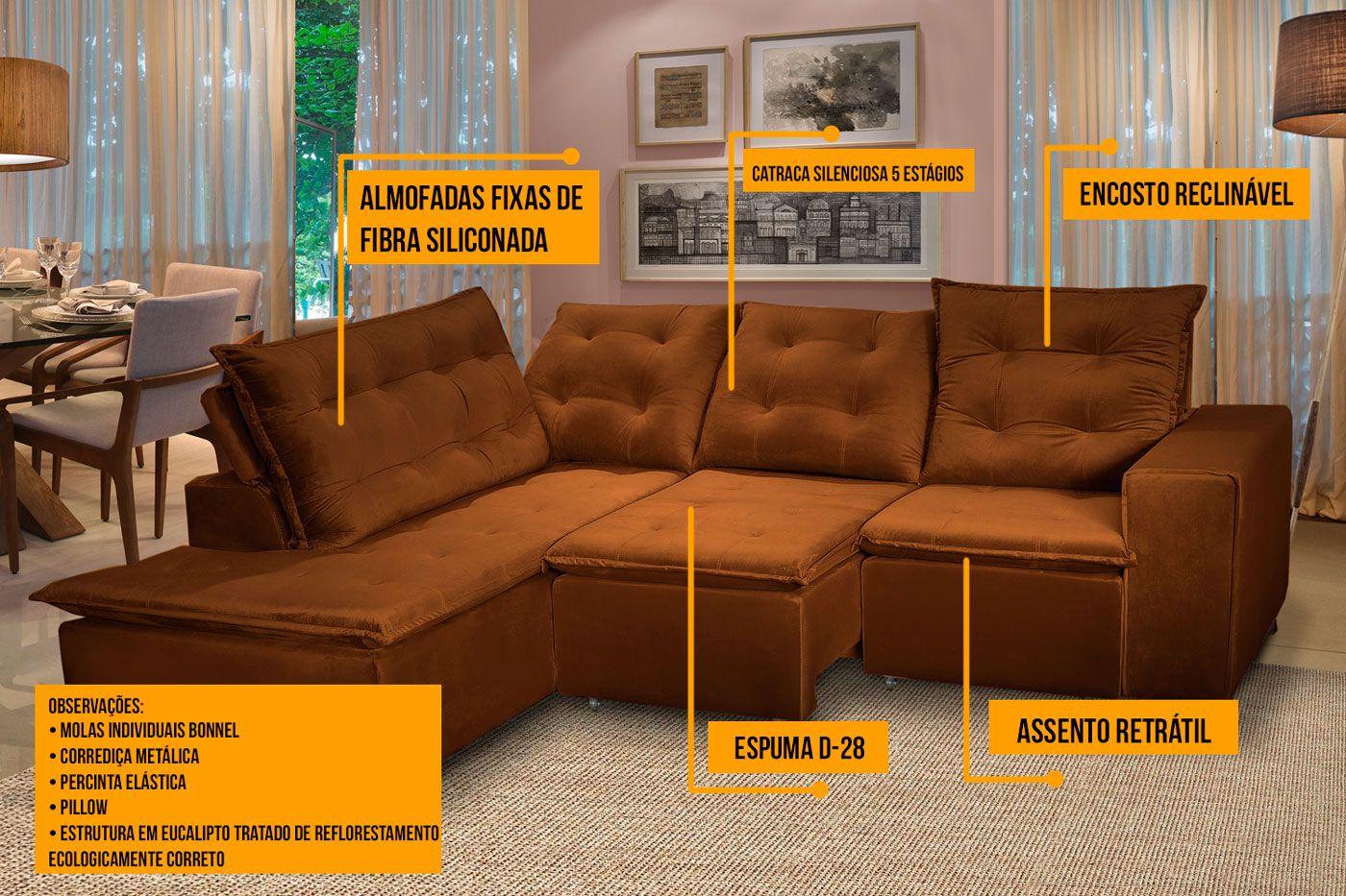 Sofá 5 Lugares Canto 254x212Cm Toronto Retrátil e Reclinável c/Chaise Pillow e Molas Marrom - Megasul