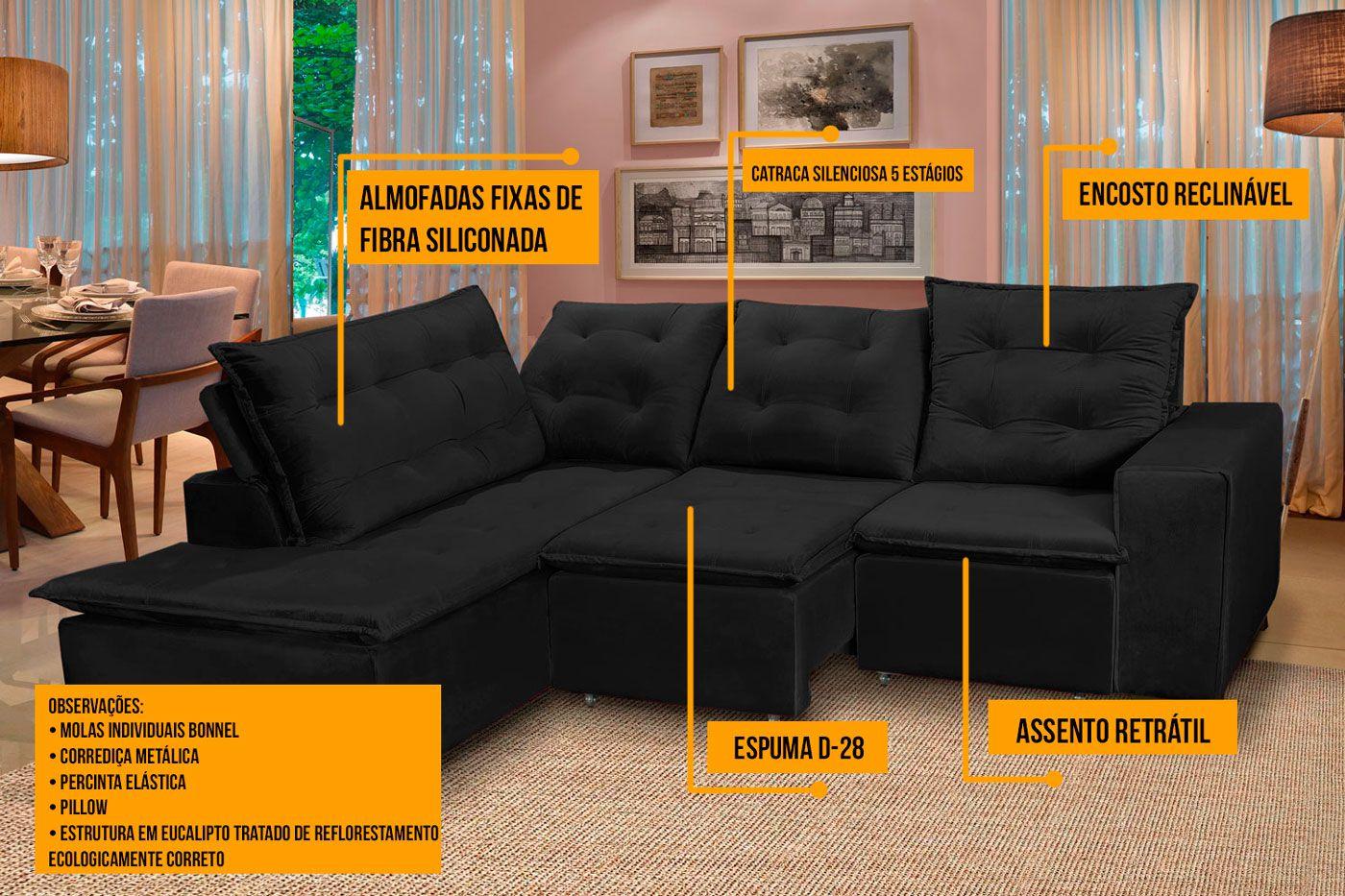 Sofá 5 Lugares Canto 254x212Cm Toronto Retrátil e Reclinável c/Chaise Pillow e Molas Preto - Megasul