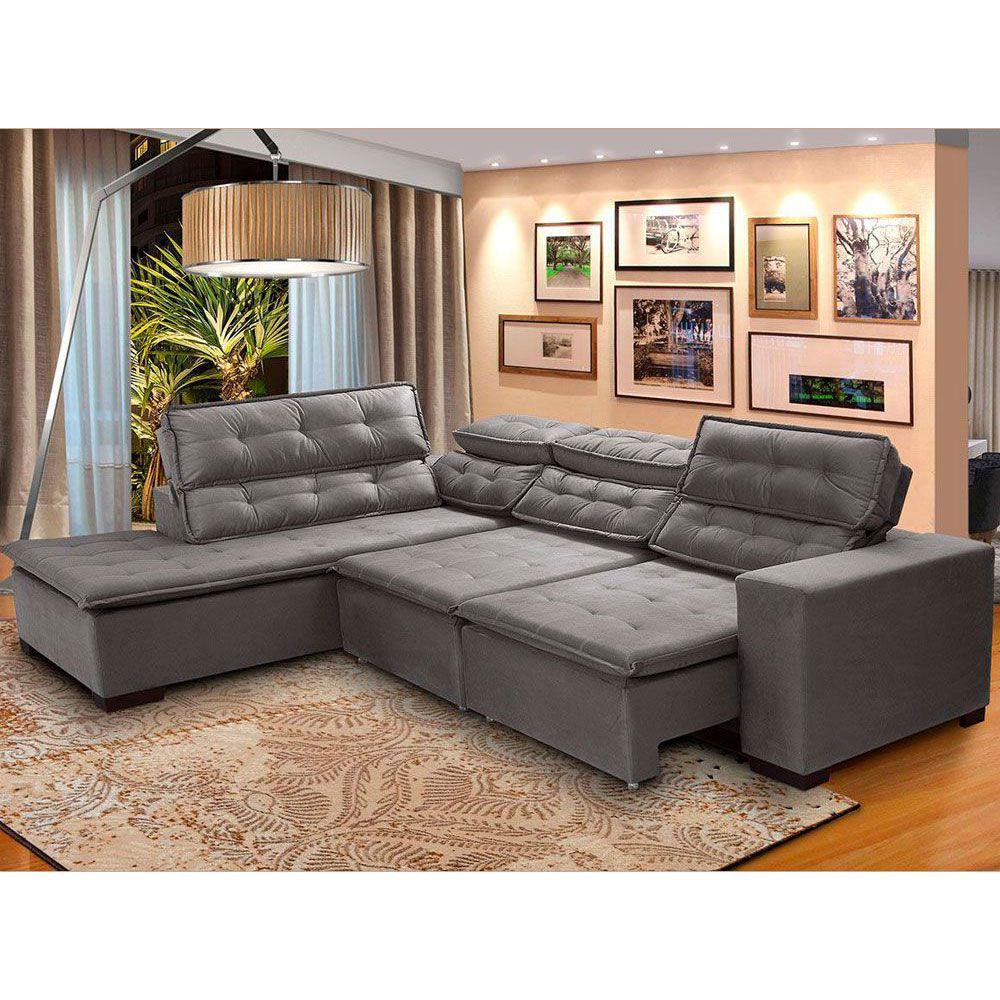 Sofá 5 Lugares Canto 2,80x2,20 m Sttilo Retrátil e Reclinável Chaise Pillow e Molas Cinza - Megasul