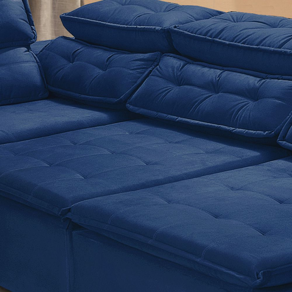Sofá 5 Lugares Canto Retrátil Reclinável Chaise 2,80 x 2,20 m Sttilo Azul - MegaSul