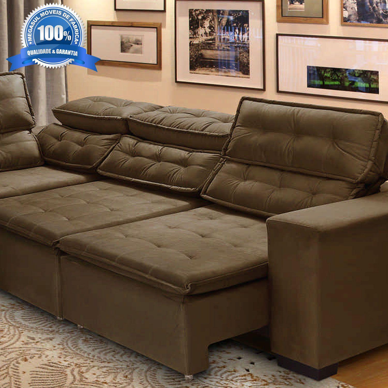 Sofa Retratil De Canto Com Chaise