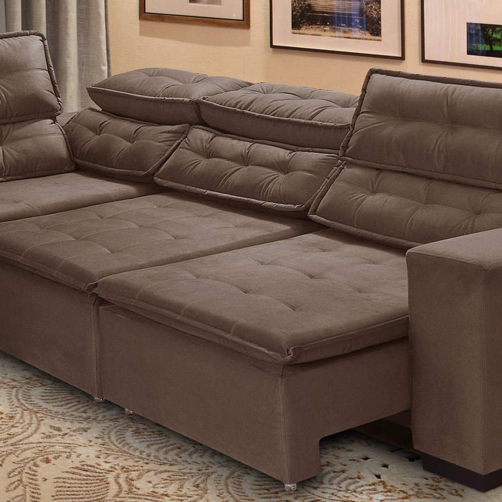 Sofa De Canto Retratil Cinza | Baci Living Room