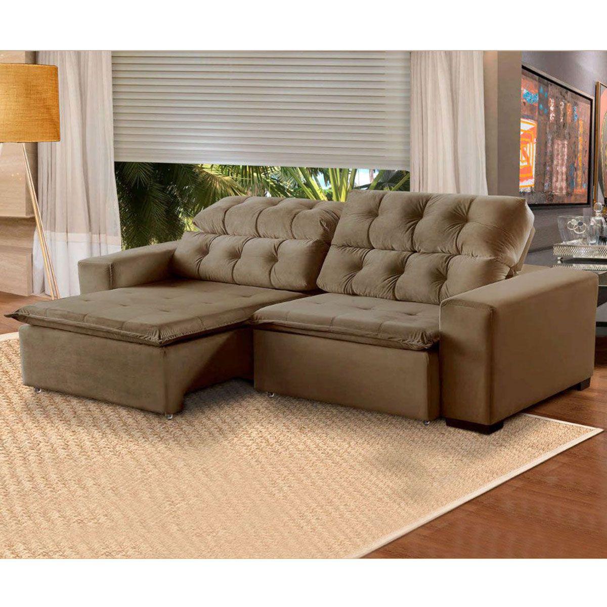 Sofá 6 Lugares Retrátil e Reclinável Alasca 290 Cm Pillow Veludo Marrom 512 MegaSul